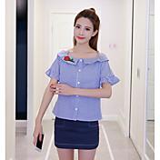 Mujer Simple Casual/Diario Verano Camisas Falda Trajes,Escote Redondo A Rayas Manga Corta