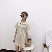レディース カジュアル/普段着 夏 秋 Tシャツ,シンプル タートルネック ソリッド その他 半袖