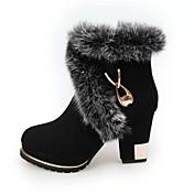 レディース 靴 繊維 秋 冬 コンフォートシューズ ブーツ チャンキーヒール ブーティー/アンクルブーツ 用途 カジュアル ブラック