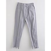 Pantalones Chica Un Color Algodón Otoño Gris