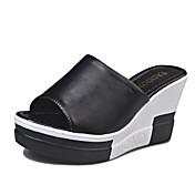 Mujer Zapatos PU Primavera Verano Talón Descubierto Sandalias Tacón Cuña Puntera abierta Combinación Para Vestido Blanco Negro