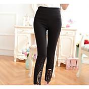 Mujer Sólido Un Color Encaje Legging