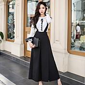 Mujer Tiro Alto Microelástico Corte Ancho Perneras anchas Mono Pantalones,Un Color Poliéster Licra Primavera Otoño