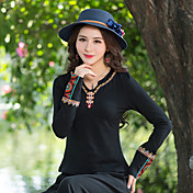 Mujer Vintage Tejido Oriental Casual/Diario Camiseta,Escote en Pico Bordado Manga Larga Algodón