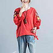 レディース カジュアル/普段着 シャツ,アジアン・エスニック ラウンドネック 刺繍 コットン リネン 七分袖