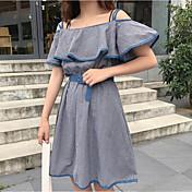 Mujer Línea A Vestido Casual/Diario Estampado Escote Barco Sobre la rodilla Sin Mangas Algodón Verano Tiro Medio Rígido Opaco