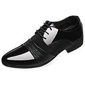 Hombre Zapatos PU Primavera Otoño Confort Oxfords Con Cordón Para Casual Negro Marrón