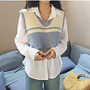 Mujer Regular Chaleco Casual/Diario Simple,Un Color Escote en Pico Sin Mangas Piel Sintética Otoño Medio Microelástico