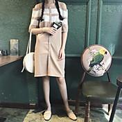 Mujer Largo Pullover Casual/Diario Simple,A Rayas Escote Barco Manga Corta Piel Sintética Otoño Medio Microelástico
