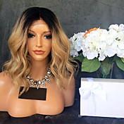 Mujer Pelucas de Cabello Natural Brasileño Remy Encaje Frontal 130% Densidad Con mechones Ondulado Grande Peluca Negro / Strawberry Blonde
