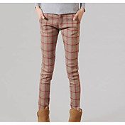 女性の厚手のフリース裏地付きレギンス、チェックファッション.チェック柄のズボン