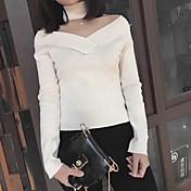 Mujer Regular Pullover Casual/Diario Simple,Un Color Hombros Caídos Manga Larga Piel Sintética Otoño Medio Microelástico