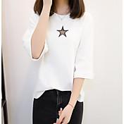 Mujer Regular Pullover Casual/Diario Estampado Escote Redondo Manga Corta Otro Primavera Otoño Medio Microelástico