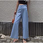 Mujer Sencillo Tiro Alto Microelástico Vaqueros Pantalones,Perneras anchas Un Color