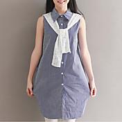 Mujer Simple Casual/Diario Camisa,Cuello Camisero A Rayas Manga Corta Algodón