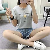 Mujer Simple Casual/Diario Verano Camiseta,Escote Redondo A Rayas Estampado Manga Corta Algodón Fino