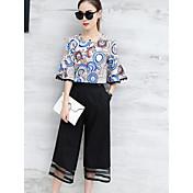 Mujer Simple Casual/Diario Verano Blusa Pantalón Trajes,Escote Redondo Estampado Manga Corta Microelástico