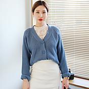 Mujer Regular Cardigan Casual/Diario Simple,Un Color Escote en Pico Manga Larga Piel Sintética Otoño Medio Microelástico