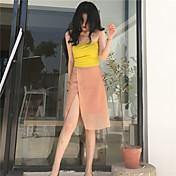 Mujer Sencillo Casual/Diario Midi Faldas,Línea A Tul Otoño Un Color