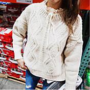 Mujer Regular Pullover Casual/Diario Simple,Un Color Cuello Barco Manga Larga Algodón Otoño Medio Microelástico