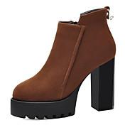 レディース 靴 ファー 秋 冬 ファッションブーツ ブーティー ブーツ ブーティー/アンクルブーツ 用途 ドレスシューズ パーティー ブラック Brown