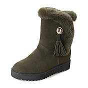 レディース 靴 PUレザー 冬 スノーブーツ ブーツ フラットヒール ラウンドトウ 用途 カジュアル ブラック グレー アーミーグリーン