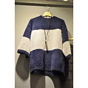 Mujer Regular Pullover Casual/Diario Simple,Bloques Escote Redondo Manga Larga Algodón Otoño Medio Microelástico