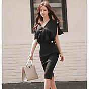 Mujer Simple Casual/Diario Verano T-Shirt Falda Trajes,Escote en Pico Un Color Manga Corta Microelástico