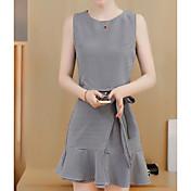 レディース ワーク 夏 タンクトップ スカート スーツ,セクシー ラウンドネック 格子柄 縞柄 ノースリーブ