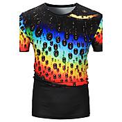 メンズ カジュアル/普段着 Tシャツ,活発的 ラウンドネック プリント ポリエステル 半袖