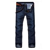 Hombre Casual Tiro Medio Rígido Corte Recto Vaqueros Pantalones,Un Color Algodón Primavera Otoño