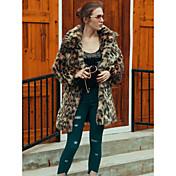 Mujer Simple Activo Chic de Calle Trabajo Casual/Diario Invierno Otoño Abrigo de Piel,Escote Cuadrado Leopardo Mangas largas Piel
