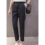 Mujer Casual Tiro Medio Microelástico Delgado Chinos Pantalones,Bloques Primavera Otoño