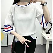 Mujer Regular Pullover Noche Bloques Escote Redondo Manga Larga Otro Primavera Invierno Medio Microelástico
