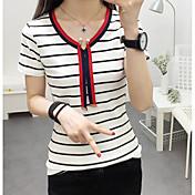レディース カジュアル/普段着 Tシャツ,シンプル Vネック ストライプ コットン 半袖