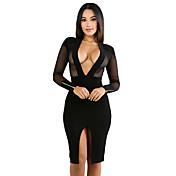 Mujer Corte Bodycon Vestido Discoteca Sexy,Un Color Escote en Pico Hasta la Rodilla Manga Larga Poliéster Licra Otoño Tiro Alto Elástico