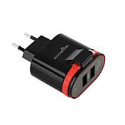 enchufe de la UE nosotros enchufe cargador USB del teléfono salidas 2.4 cm 2 puertos usb 3.1a ac 100v-240v