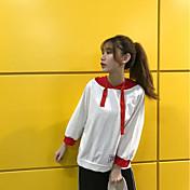 Mujer Sudadera Noche Casual/Diario Un Color Inelástica Algodón Manga Larga Otoño