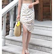 Mujer Noche Asimétrico Faldas,Corte Bodycon Verano Estampado