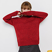 Mujer Regular Pullover Casual/Diario Simple,Un Color Cuello Alto Manga Larga Algodón Otoño Medio Microelástico