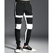 Hombre Simple Tiro Medio Microelástico Pantalones Un Color