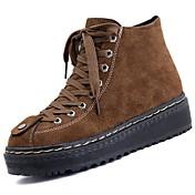 レディース 靴 ヌバックレザー 冬 コンバットブーツ ブーツ ラウンドトウ 用途 ブラック Brown