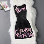 Vestido Chica de Cumpleaños Noche Floral Jacquard Mariposa Algodón Poliéster Sin Mangas
