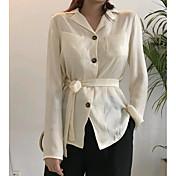 Mujer Bonito Casual/Diario Camisa,Cuello Camisero Un Color Manga Larga Algodón