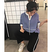 Mujer Vintage Sofisticado Ropa Cotidiana Camisa,Escote en Pico Un Color Manga Larga Algodón