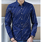 男性用 日常 シャツ, ストリートファッション シャツカラー ポリエステル 長袖