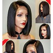 Mujer Pelucas de Cabello Natural Brasileño Cabello humano Encaje Frontal 130% Densidad Corte Bob Con mechones Corte Recto Peluca Negro