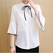 Mujer Bonito Casual/Diario Camisa,Escote Chino Un Color Manga Larga Algodón