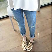 Mujer Activo Tiro Medio Microelástico Ajustado Pantalones,Un Color Otoño