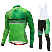 CYCOBYCO ビブタイツ付きサイクリングジャージー 男性用 長袖 バイク パンツ ジャージー サイクリングタイツ ビブタイツ トップス 洋服セット 速乾性 3Dパッド フリース90% マルベリーシルク10% コットン混 フリース ライクラ® グラフィック クラシック